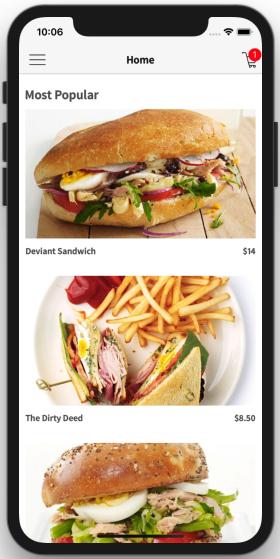 react native restaurant app template home food screen