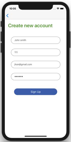 react native restaurant app template signup screen iOS