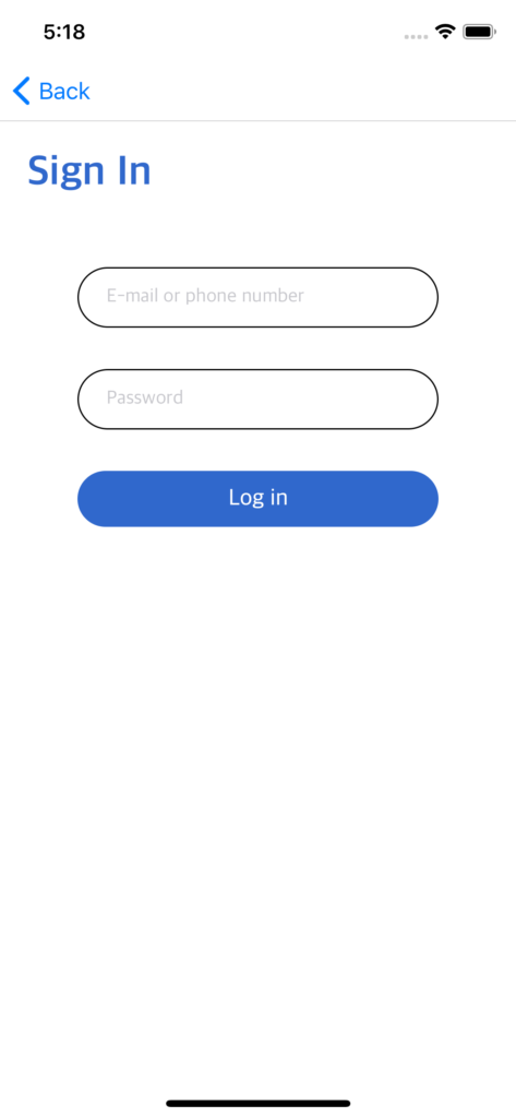 react native login screen