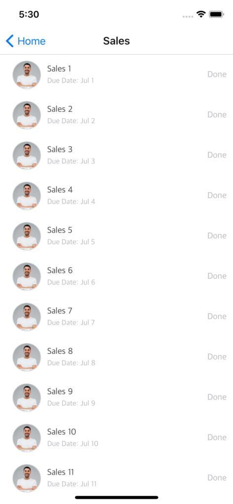 react native sales feed
