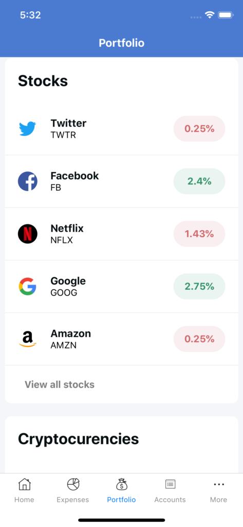 react native stocks app template