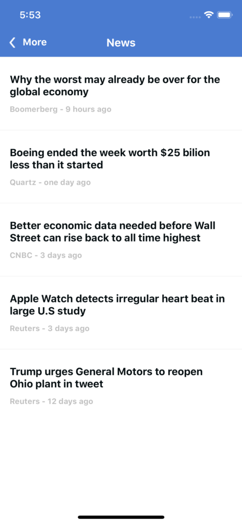 market news app template