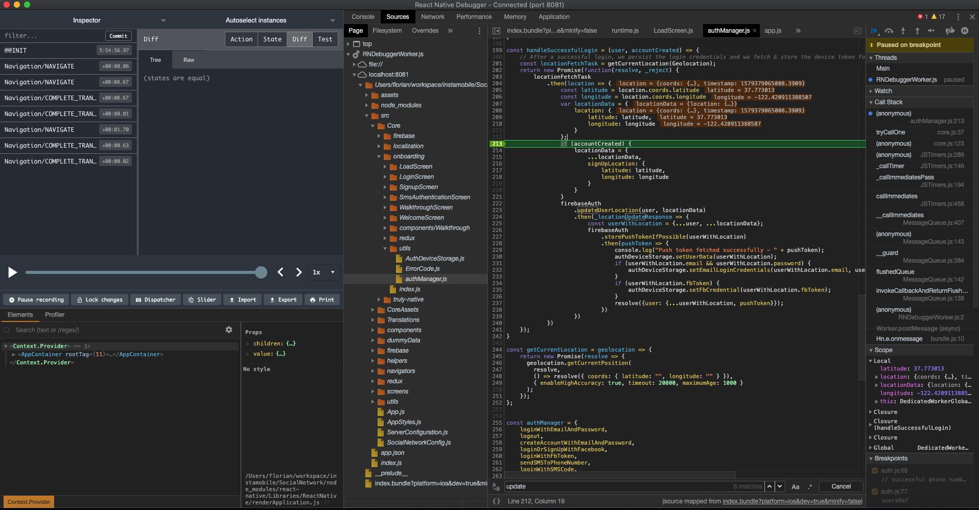 react native debugger breakpoints
