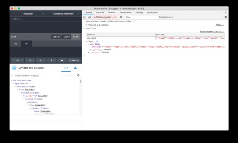 react native debugger asyncstorage