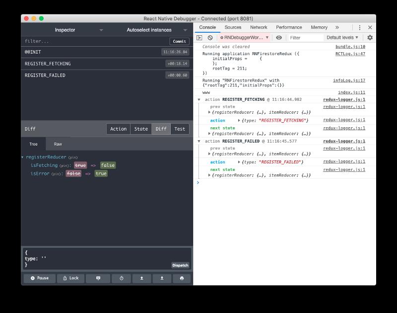 react native debugger redux